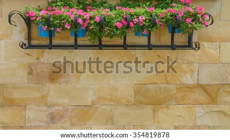 Hanging Basket of Flower on Wall