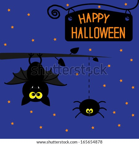 Hanging bat and spider. Starry night. Happy Halloween card. Rasterized copy - stock photo