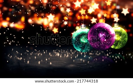 Hanging Baubles Christmas Yellow Star Night Bokeh Beautiful 3D - stock photo