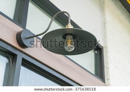 hanging black lamp - stock photo