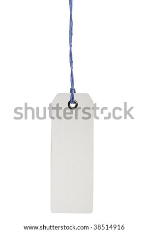 Hanging blank product info label isolated on white background with clipping path