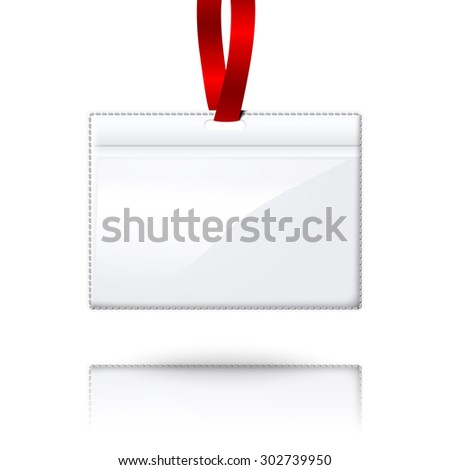 Hanging blank realistic horizontal badge holder with bright red light lace. Isolated on white background with reflection for design and branding.