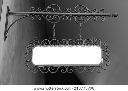 hanging board - white blank - stock photo