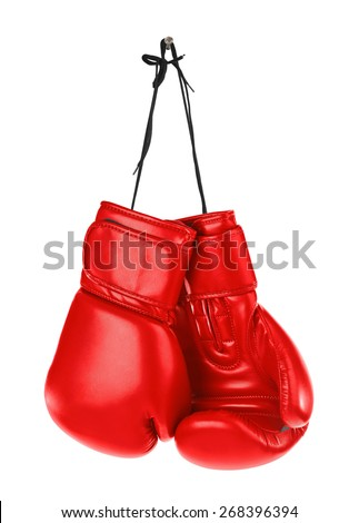 Hanging boxing gloves isolated on white background - stock photo
