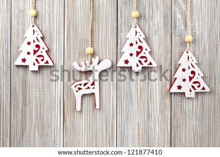 Hanging Christmas decorations - stock photo