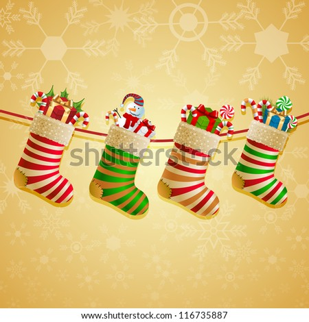Hanging christmas socks with present. Check my portfolio for vector version.