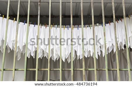 Hanging clothes, linen drying detail