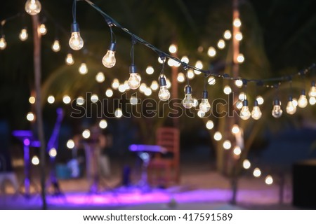 Hanging decorative lights wedding party stock photo 417591589 hanging decorative lights for a wedding party junglespirit Image collections