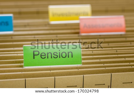Hanging file folder labeled with Pension - stock photo