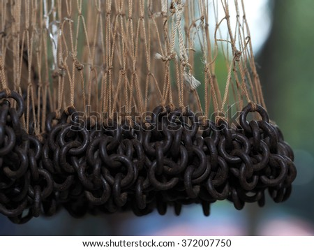 Hanging Fishing Net  - stock photo