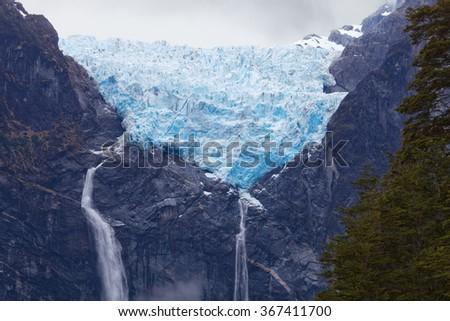 Hanging Glacier. Queulat, Patagonia, Chile national park  - stock photo