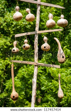 Hanging gourd birdhouses hanging from wooden poles