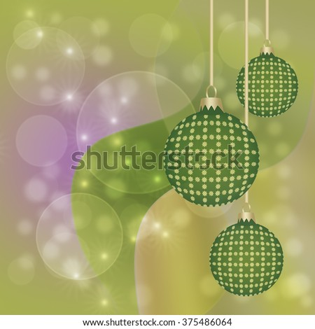 Hanging green and gold baubles for christmas card greeting background with copy space - stock photo