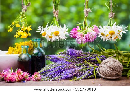 Hanging healing herbs bunches, bottles of tincture and mortar with flowers. Herbal medicine. - stock photo