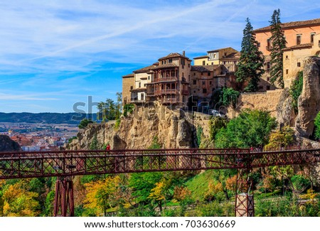 Hanging Houses Of Cuenca, Spain. The Pedestrian Bridge Over The Valley.