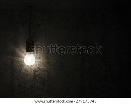 Hanging Light Bulb in the Empty Concrete Room Interior with place for Your Text