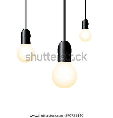 hanging light bulbs glowing on white background