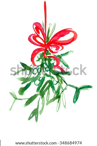 Hanging mistletoe with red bow painted in watercolor on white isolated background - stock photo
