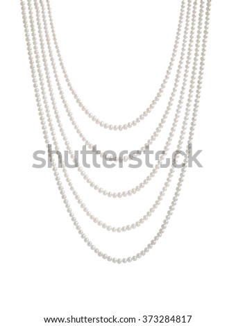 Hanging natural pearl necklace, five rows, isolated on white