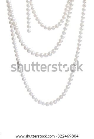 Hanging natural pearl necklace, isolated on white