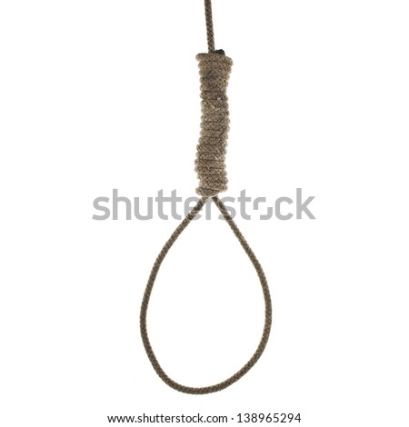 Hanging noose of rope isolated on white background - stock photo