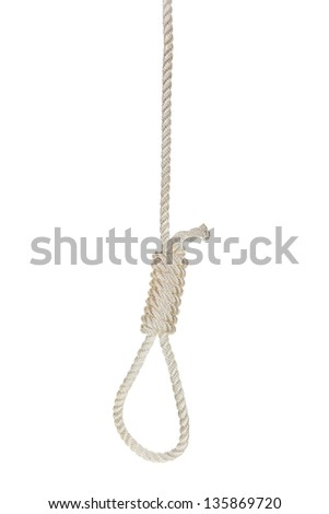 Hanging noose on a white rope isolated - stock photo