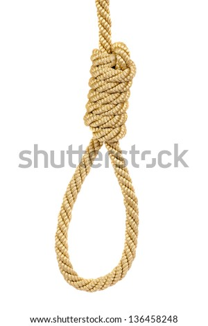 Hanging noose rope, isolated on white - stock photo