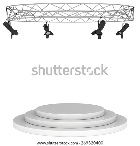 hanging on a metal frame above the podium. - stock photo