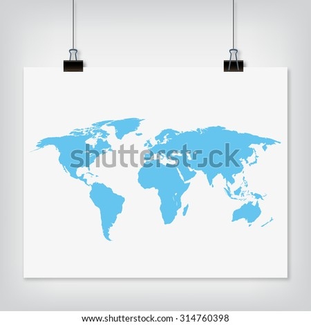 Hanging paper world map blue color sign with shadow on grey background - stock photo