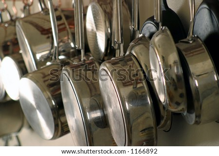 Hanging Pots and Pans 4 - stock photo