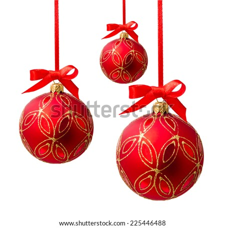Hanging red christmas balls isolated on a white background  - stock photo