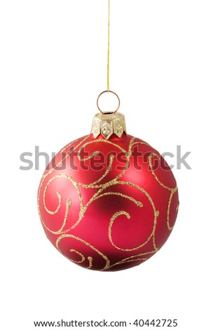 Hanging red Christmas bauble with ornament isolated on white background
