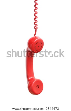 hanging red head phone - stock photo