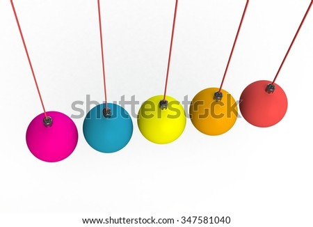Hanging red neon christmas ball on white background