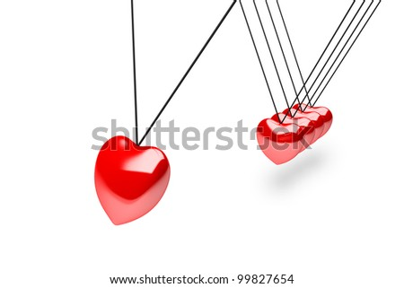 Hanging red silver heart balls on white, newton's cradle - stock photo