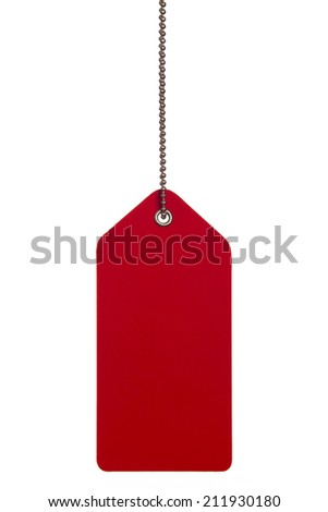 Hanging red tag on the white background  - stock photo