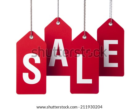 Hanging red tags with sale written text on the white background - stock photo
