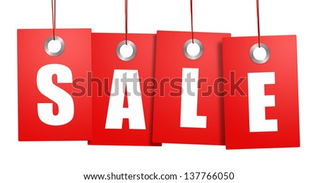 Hanging sale price tags isolated on white background - stock photo