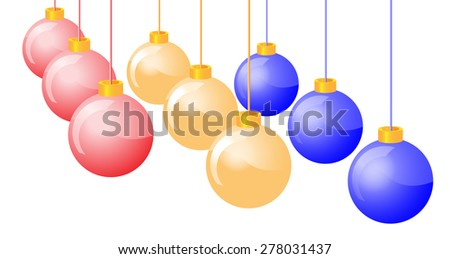 Hanging shiny Christmas baubles on white background