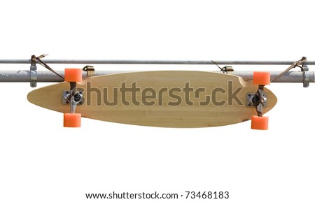 Hanging skateboard used for sign - stock photo