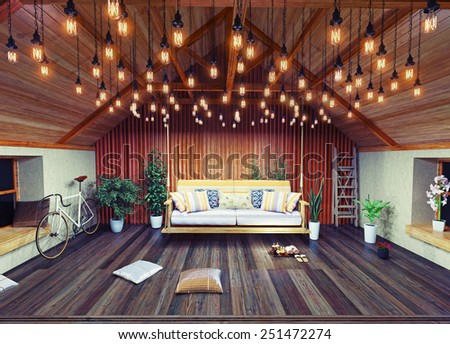 Hanging sofa in the attic interior, decorated  with vintage lamps. 3D design concept - stock photo