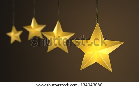 Hanging star shaped string lights over dark background - stock photo