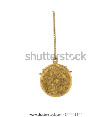 Hanging watch. Christmas ornament on a white background