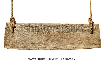 Hanging Wooden Sign - stock photo