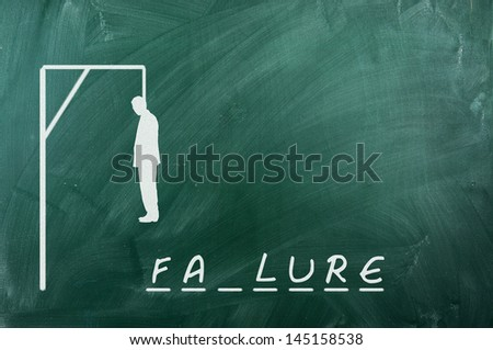Hangman game on green chalkboard ,concept of failure - stock photo