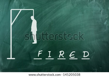 Hangman game on green chalkboard ,concept of fired - stock photo