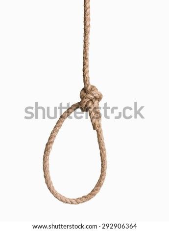 hangman's knot isolated on white - stock photo
