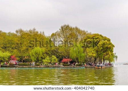 HANGZHOU, CHINA - APR 2, 2016: Nature of  the West Lake (Xi hu lake) is a freshwater lake in Hangzhou. UNESCO World Heritage Site