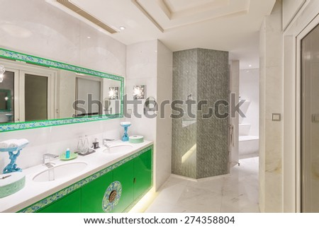 Hangzhou,China-April 22,2014:china decorated bathroom of Dragon hotel.