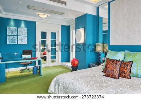 Hangzhou,China-April 22,2014:China decorated bedroom interior of Dragon Hotel. - stock photo